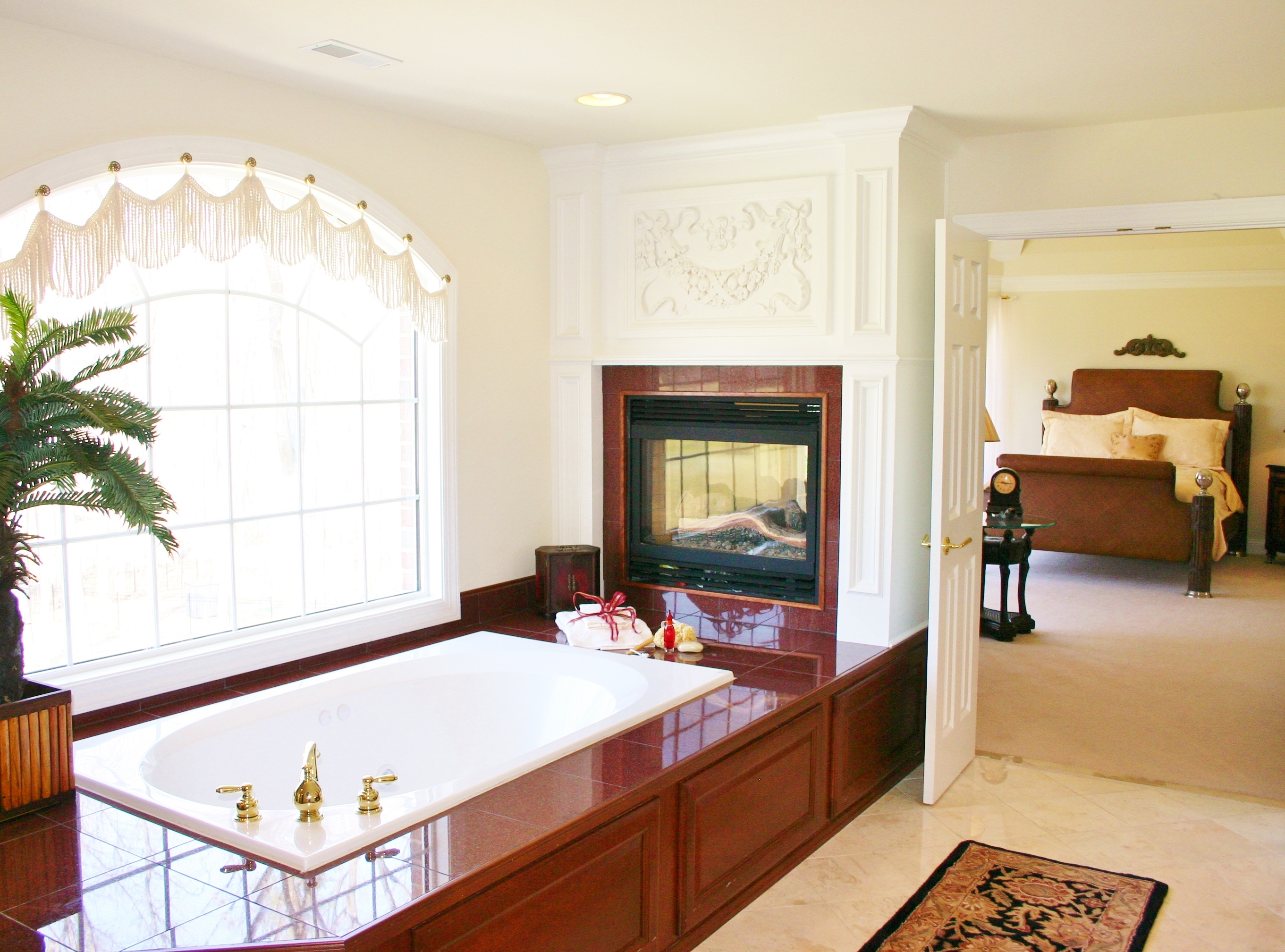Custom Bath with Built-in Fireplace